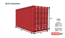 Load image into Gallery viewer, 20 ft Standard 1 Trip (20ST1TRIP) Shipping Container Dimensions & Specifications