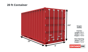 20 ft Standard Cargo Worthy (20STCW) Shipping Container Dimensions & Specifications