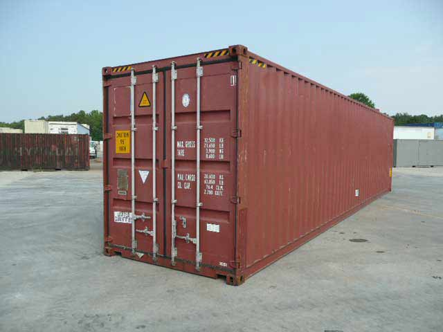 40 ft High Cube Cargo Worthy (40HCCW) Shipping Container Angle View