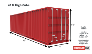 40 ft High Cube As Is (40HCASIS) Shipping Container Dimensions & Specifications