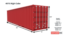 Load image into Gallery viewer, 40 ft High Cube Wind and Water Tight (40HCWWT) Shipping Container Dimensions & Specifications
