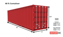 Load image into Gallery viewer, 40 ft Standard Wind and Water Tight (40STWWT) Shipping Container Dimensions & Specifications