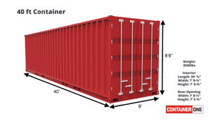 40 ft Standard 1 Trip (40ST1TRIP) Shipping Container Dimensions & Specifications