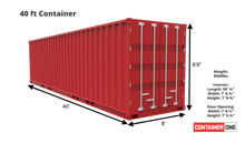 Load image into Gallery viewer, 40 ft Standard As Is (40STASIS) Shipping Container Dimensions & Specifications