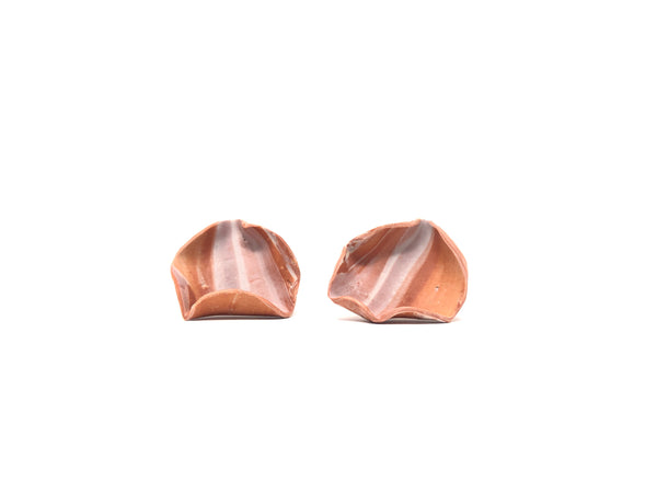Minimal terra cotta circle earrings