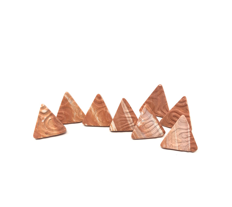 Abstract terra cotta triangle earrings