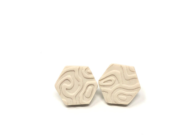 White textured hexagon earrings