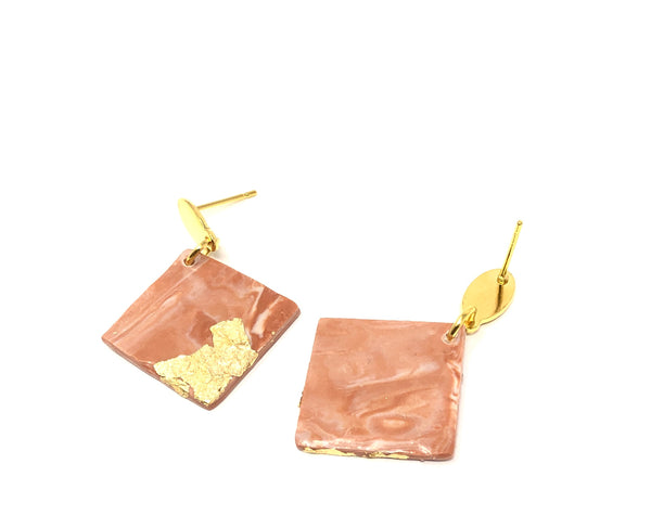 Multicolor square drop earrings