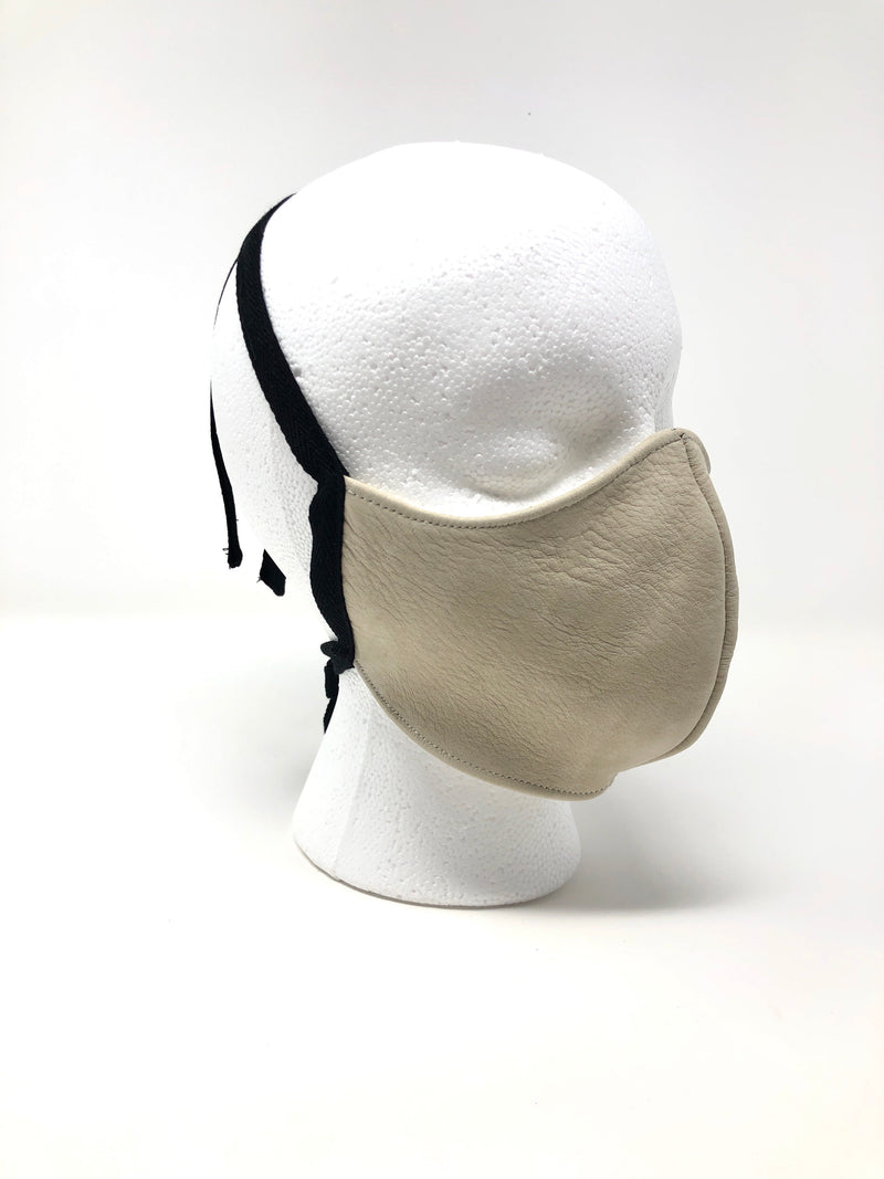 Suede fitted Leather face mask