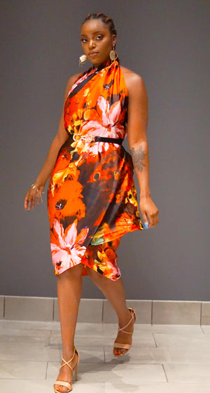 Floral abstract print sarong