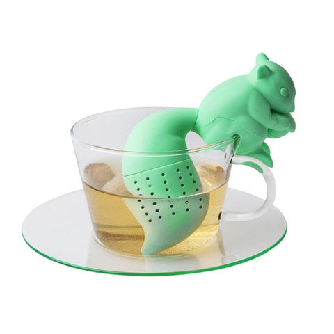 Tea Infuser Silicone Cute Squirrel Shape Tea Coffee Loose Leaf Strainer Bag Mug Filter Teapot Teabags Drinkware
