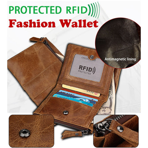 Mens Wallet with Coin Bag Zipper Men Wallets Money Purses Cowhide Short Wallet