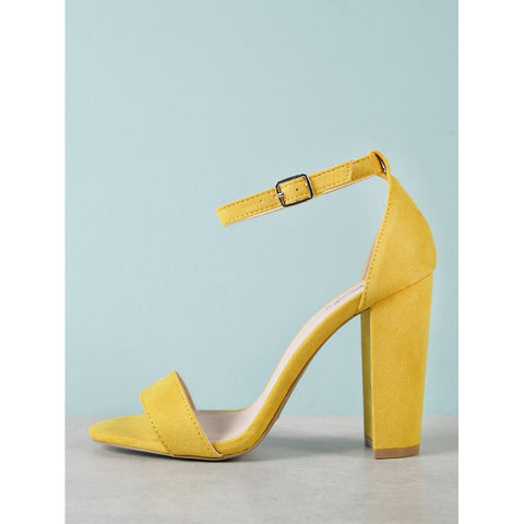 Faux Suede Ankle Strap Chunky Heel