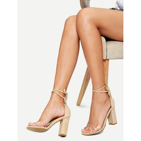 Clear Detail Two Part Heeled Sandals