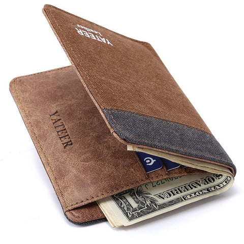 New High-end Business Soft Leather Multi-pocket Men's Wallet Card Package Short Canvas Wallet