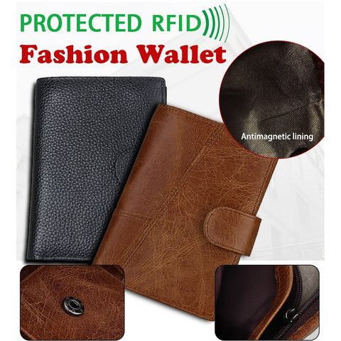 RFID Genuine Leather Mens Wallet with Coin Bag Zipper Wallets New Design Money Purses Top Cowhide Short Wallet