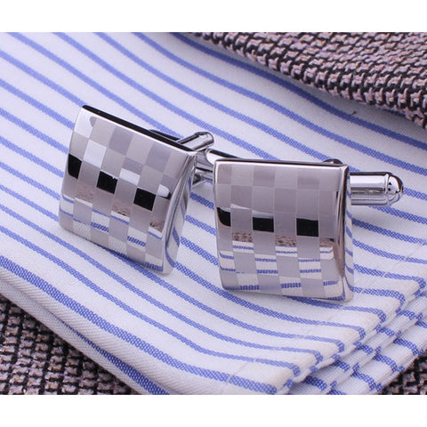 Square Engraving Cufflink Men's Groom Shirt Cufflinks Checked Wedding Cuff Links - High Quality