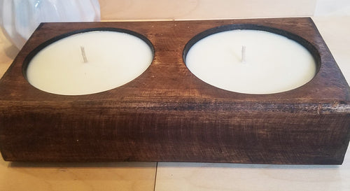 2 hole wooden cheese mold candle