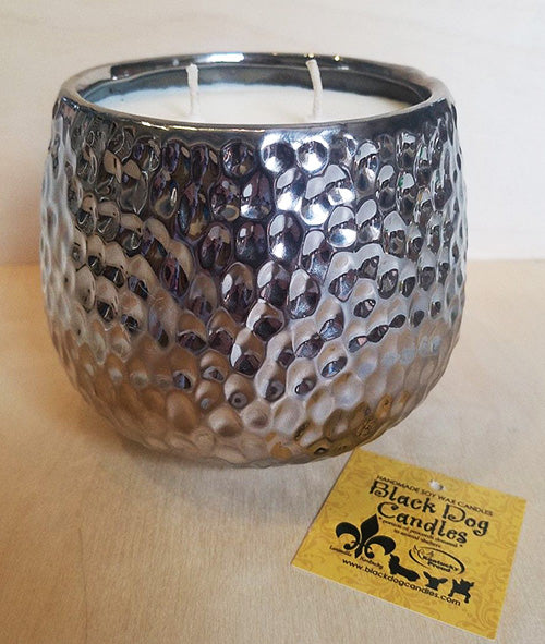 28 oz Hammered Silver 2 Wick Soy Wax Candle