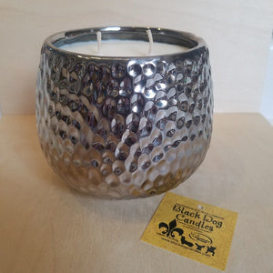 28 oz Hammered Silver 2 Wick Candle