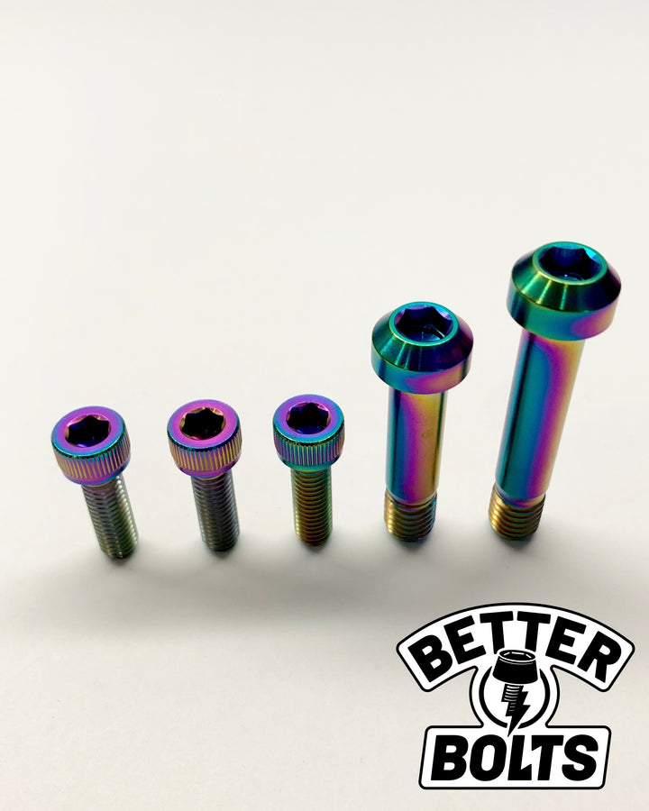 Titanium Mountain Bike Bolts for Santa Cruz Bikes - Rainbow Oil Slick