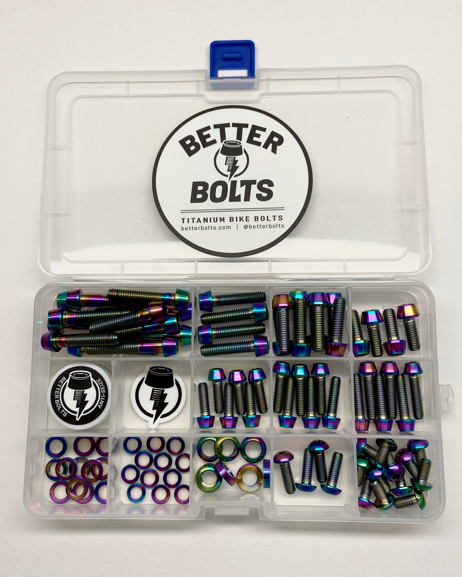 Titanium Mountain Bike Bolt Pack - Rainbow Oil Slick