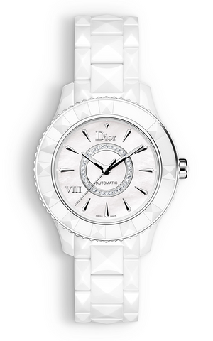 DIOR VIII 38mm Auto White Ceramic Diamonds