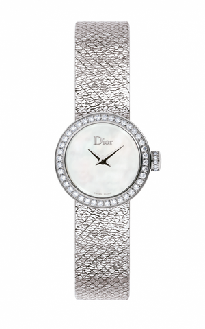 Mini La d De DIOR 19mm Steel, White Dial Diamonds