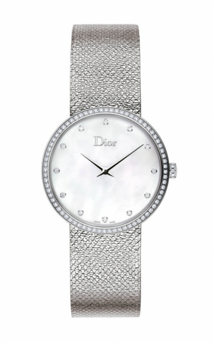 La d De DIOR 36mm Steel, White Dial Diamonds
