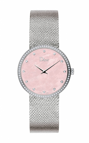 La d De DIOR 36mm Steel, Pink Dial Diamonds