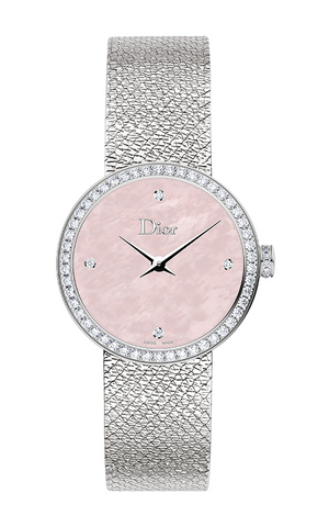 La d De DIOR 25mm Steel, Pink Dial Diamonds
