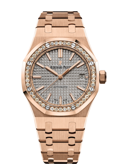 Audemars Piguet Royal Oak 37mm Rose Diamonds Nickle Grey Dial