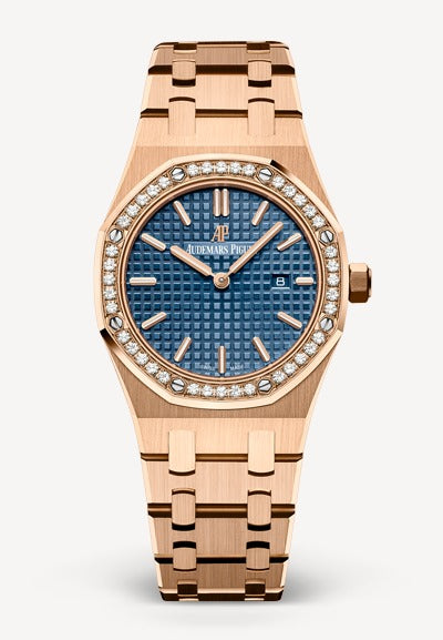 Audemars Piguet Royal Oak 33mm Rose Gold Blue Dial Diamonds