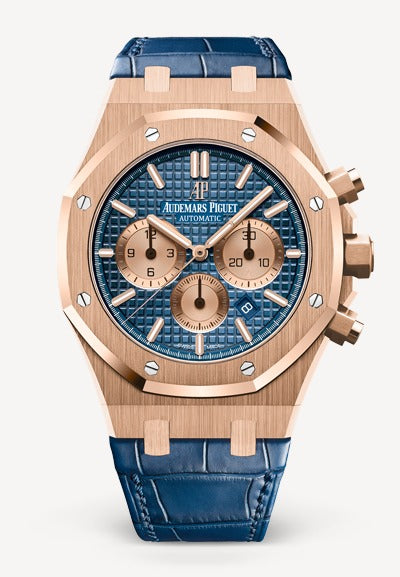 Audemars Piguet Royal Oak 41mm Rose Gold Blue Dial Alligator