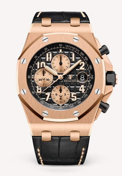 Audemars Piguet Royal Oak 42mm Offshore Rose Gold Black Dial Alligator
