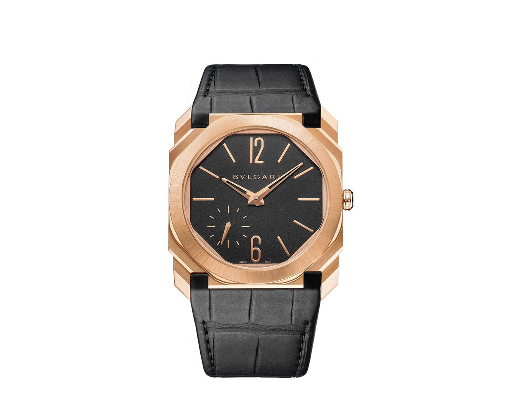 Bvlgari Octo Finissimo - 40mm Gold,  Black Dial, Alligator