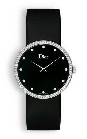 La d De DIOR 38mm Steel, Black Satin Diamonds