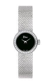 Mini La d De DIOR 19mm Steel, Black Dial Diamonds