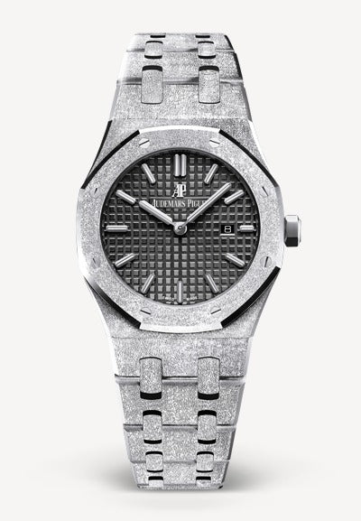 Audemars Piguet Royal Oak 33mm Frosted White Gold Black Dial