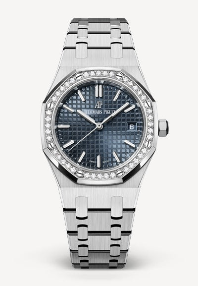 Audemars Piguet Royal Oak 34mm Steel Blue Grey Dial Diamonds