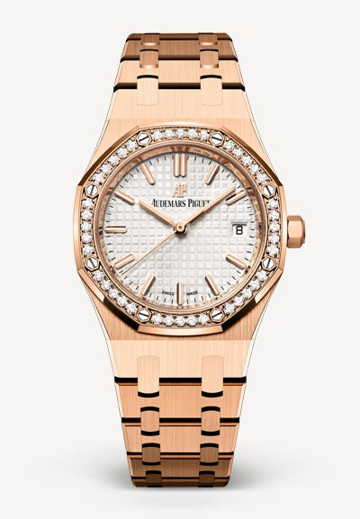 Audemars Piguet Royal Oak 34mm Rose Gold White Dial Diamonds