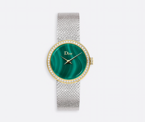 La d De DIOR 25mm Malachite Gold Steel Diamonds
