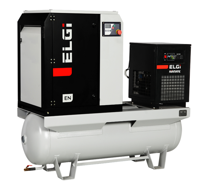 ELGI EN04-125-60T, 5 HP Rotary Screw Air Compressor offering 18 CFM @ 125 PSI, 60 Gallon Air Tank with Air Dryer 230-Volt, 1-Phase