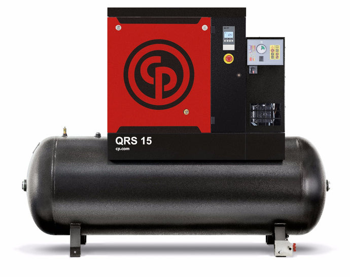 Chicago Pneumatic QRS 15D 150 TM 15 HP Rotary Screw Air Compressor, 51 CFM @ 150 PSI, 132 Gallon Tank and Air Dryer 208-230/460 Volt, 3-Phase