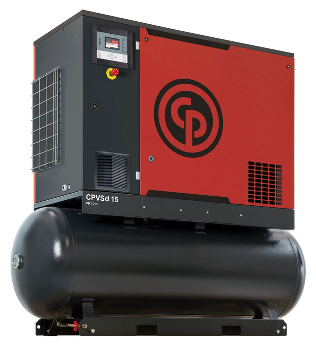 Chicago Pneumatic CPVsd 15 D TM 15 HP Rotary Screw Air Compressor Variable Speed with Air Dryer & 132 Gallon Air Tank 460 Volt
