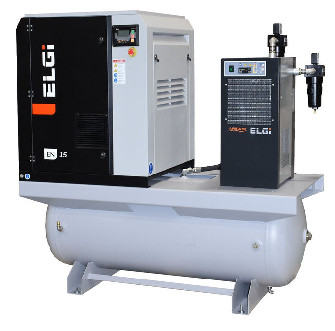 ELGI EN15-125-120T-G2A, 20 HP Rotary Screw Air Compressor offering 74 CFM @ 125 PSI, 120 Gallon Air Tank with Air Dryer, 208-230/460-Volt, 3-Phase