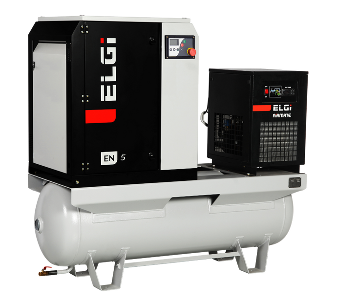 ELGI EN05-125-60T-G2J, 7.5 HP Rotary Screw Air Compressor 60 Gallon Air Tank with Air Dryer 230-Volt, 1-Phase