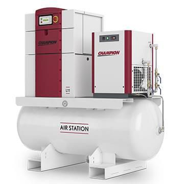 Champion L04-ASD-80-1PH, 5 HP Air Station, 230V 1-Phase Rotary Screw Air Compressor, 18.2 CFM 80 Gallon Tank