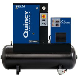 Quincy QGS 7.5 HPD, 7.5 HP Rotary Screw Compressor, 21.2 ACFM @ 145 PSI with 60 Gallon Tank & Air Dryer 230-Volt, 1-Phase