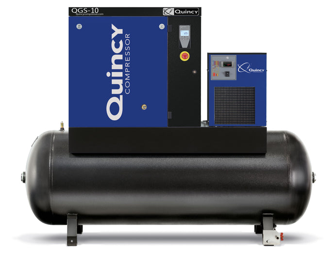 Quincy QGS-10 17 TMD, 10 HP Rotary Screw Compressor, 40 CFM @ 125 PSI with 120 Gallon Tank & Air Dryer 208-230/460-Volt, 3-Phase